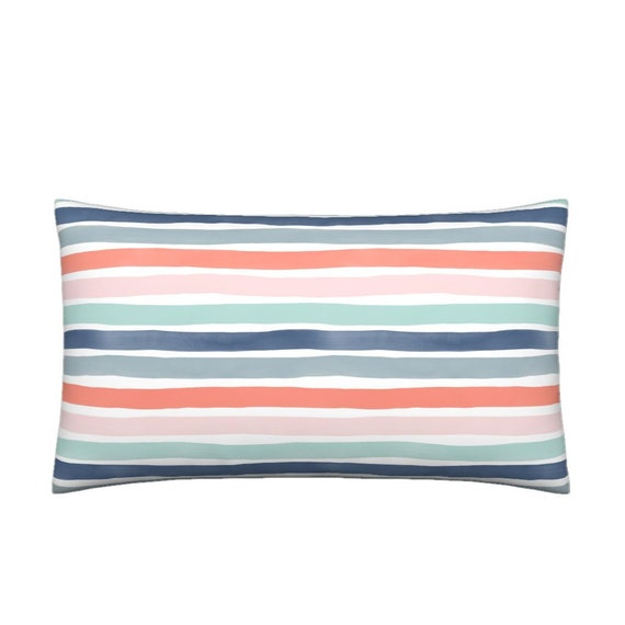 eb562bee607 Lumbar Throw Pillow Watercolor Stripes MM Multi Coral Blues