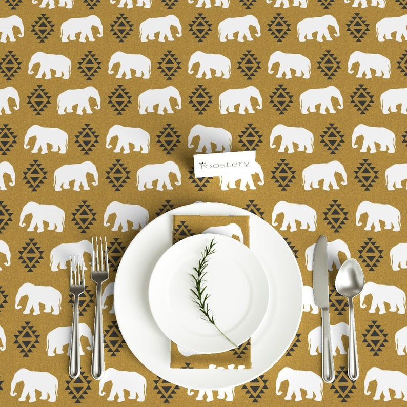 Bohemain Tablecloth Tribal Aztec Elephants Gypsy Indie Cotton Sateen Tablecloth by Spoonflower Elephant Golden Linen  by charlottewinter