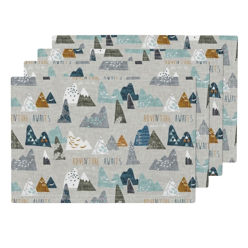 Mountain Adventure Kids Party Cloth Placemats Set of 4 by Roostery with Spoonflower Cloth Placemats Adventure Awaits By\u00a0Nouveau/_Bohemian