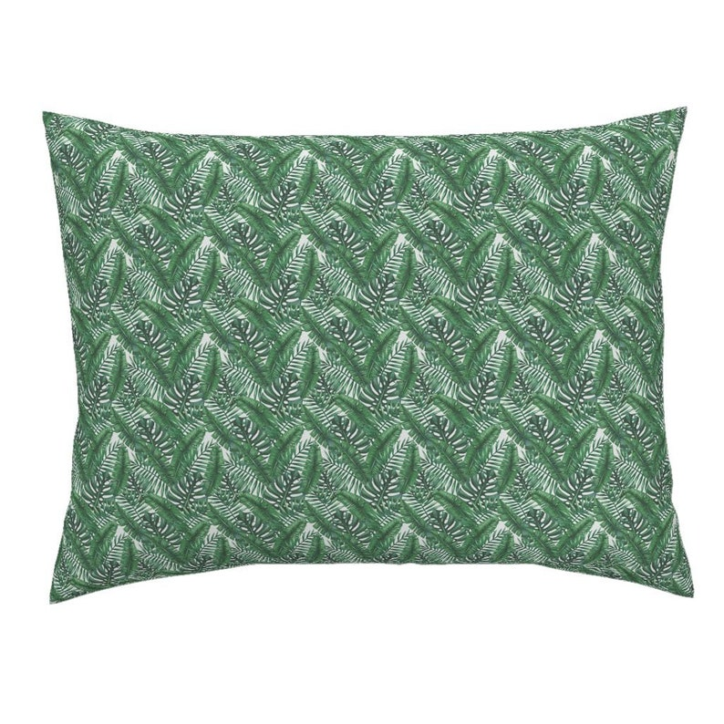 Tropical Pillow Sham Tropic Of Cancer 001 by sovendebjorn Palm Leaves Cotton Sateen Pillow Sham Bedding by Spoonflower