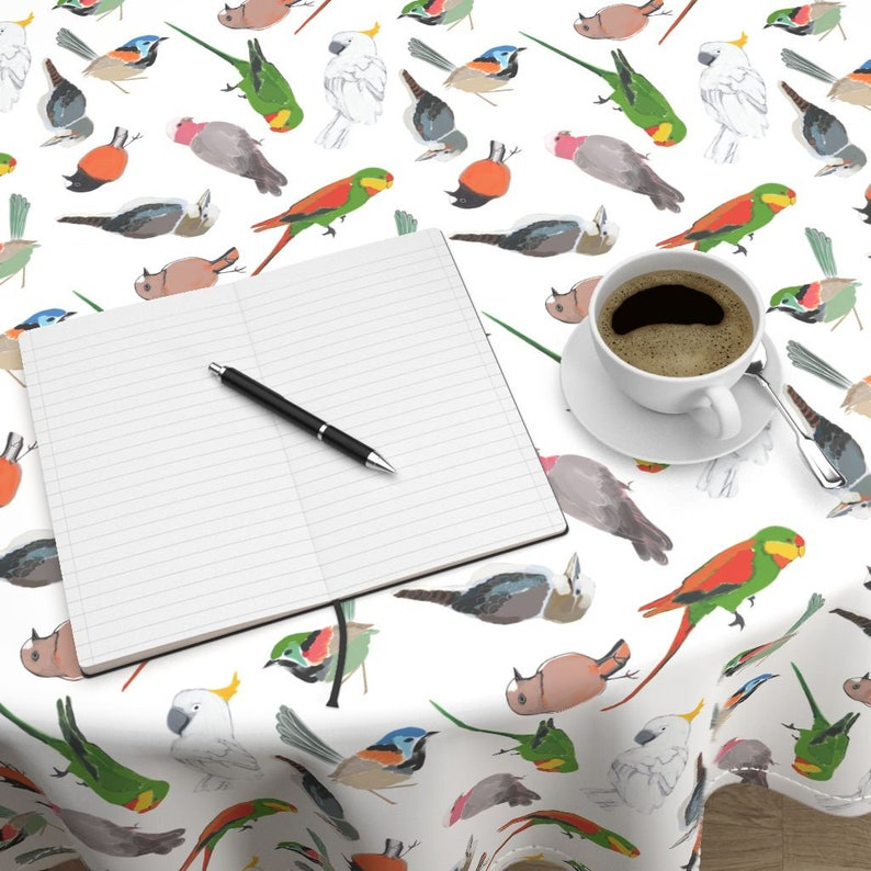 Australia Cotton Sateen Circle Tablecloth by Spoonflower Birds Round Tablecloth Parrots Amongst Friends by robynhammonddesign