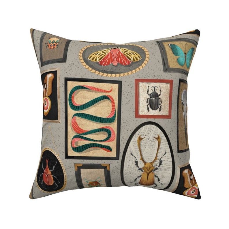 Specimens Repeat by michaelzindell Skillshare Whimsical Watercolor Insects Throw Pillow 18x18 Square Throw Pillow by Spoonflower