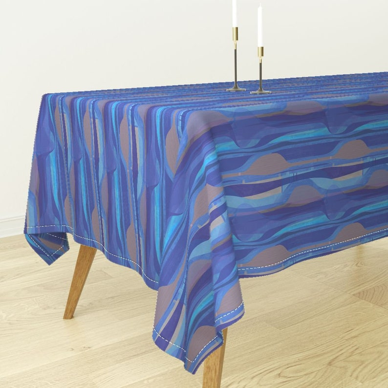 Mid Century Modern Cotton Sateen Tablecloth by Spoonflower Midcentury Abstract Ogee Tablecloth cobalt Blue by wren/_leyland