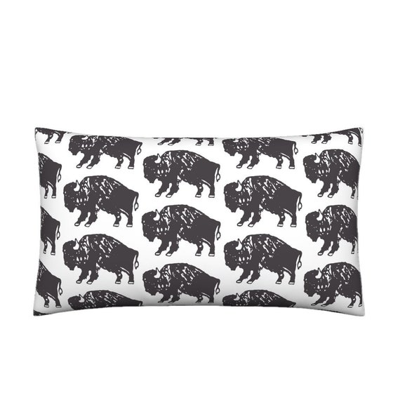 a77d02d22ba Lumbar Throw Pillow Bison Print Black and White By