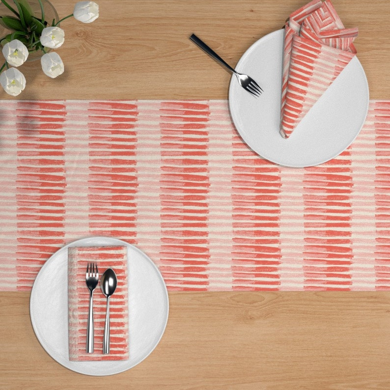 Painterly Blush  Blush And Coral Cotton Sateen Table Runner by Spoonflower Coral Stripes Table Runner Coral Stripes by juliaschumacher