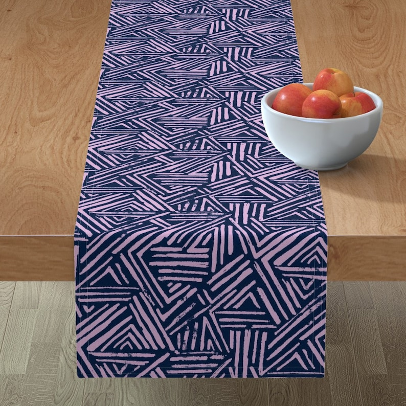 Wild by leanne Graphic  Orchid Brushed Cotton Sateen Table Runner by Spoonflower Navy Table Runner