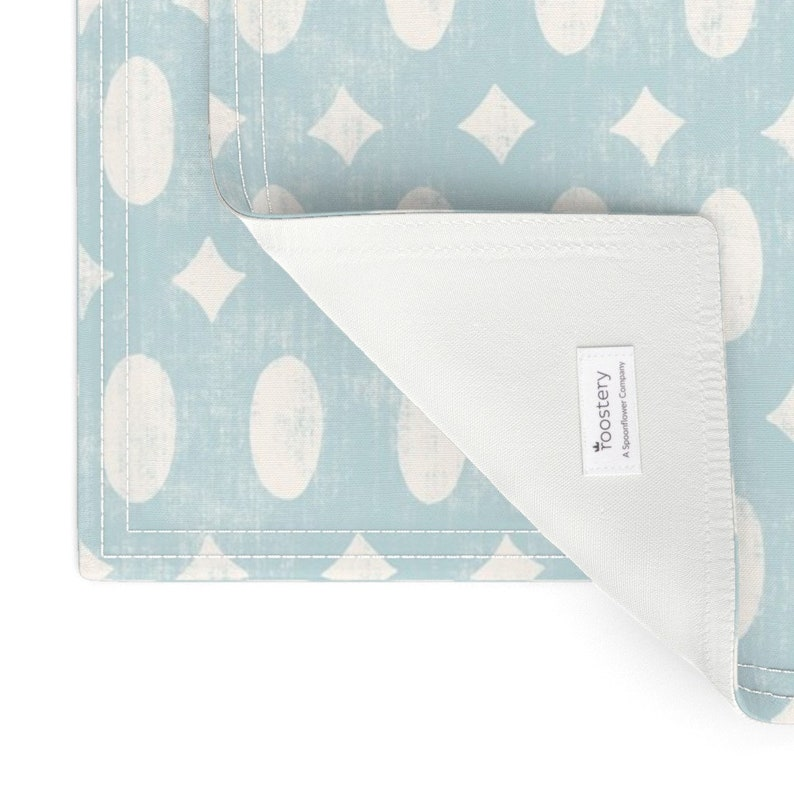 Weathered Look  Cloth Placemats by Spoonflower - Beachy Boho Lantern Geometric by bexmorley Set of 2 Blue Cream Geo Placemats