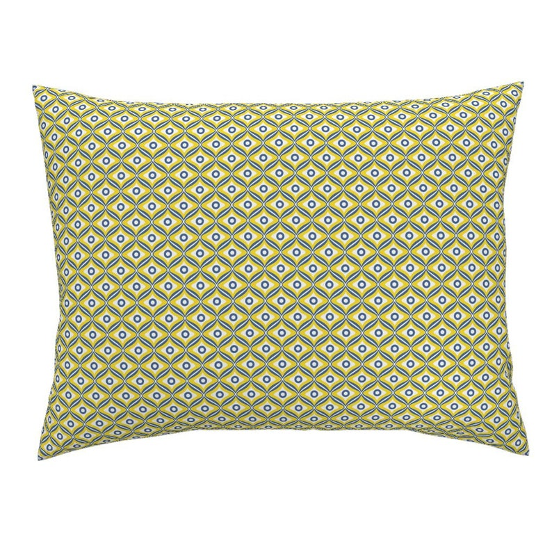 Talavera Pillow Sham Rounded Diamonds by Mexican Inspired Cotton Sateen Pillow Sham Bedding by Spoonflower Talavera