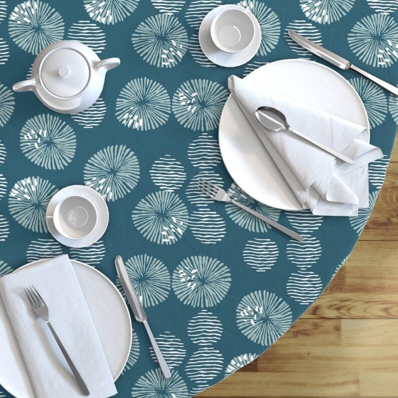 Aqua Beach Round Tablecloth Sea Lichen  by open/_face/_sandwich Sea Lichen  Anemones Cotton Sateen Circle Tablecloth by Spoonflower