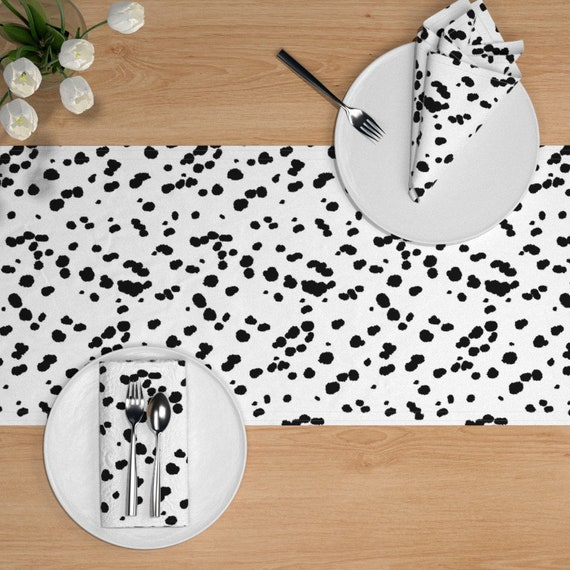 Animal Print Table Runner Dalmatian Dots  Black And White Cotton Sateen Table Runner by Spoonflower Dalmatian Spots by eclectic/_house