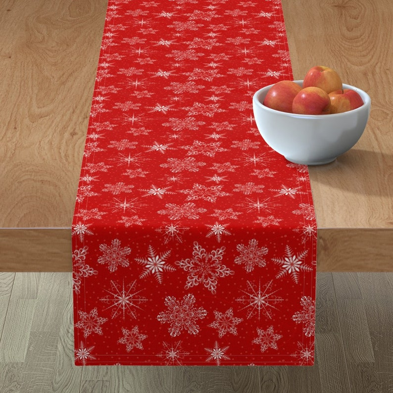 Large Snowflakes by diane555 Christmas Table Runner Snowflakes  Winter Snowy Holiday Red White Cotton Sateen Table Runner by Spoonflower