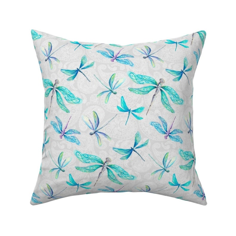 Medium by gingerlique Whimsical  Pretty Insect 18x18 Square Throw Pillow by Spoonflower Dragonflies On Paisley Paisley Throw Pillow
