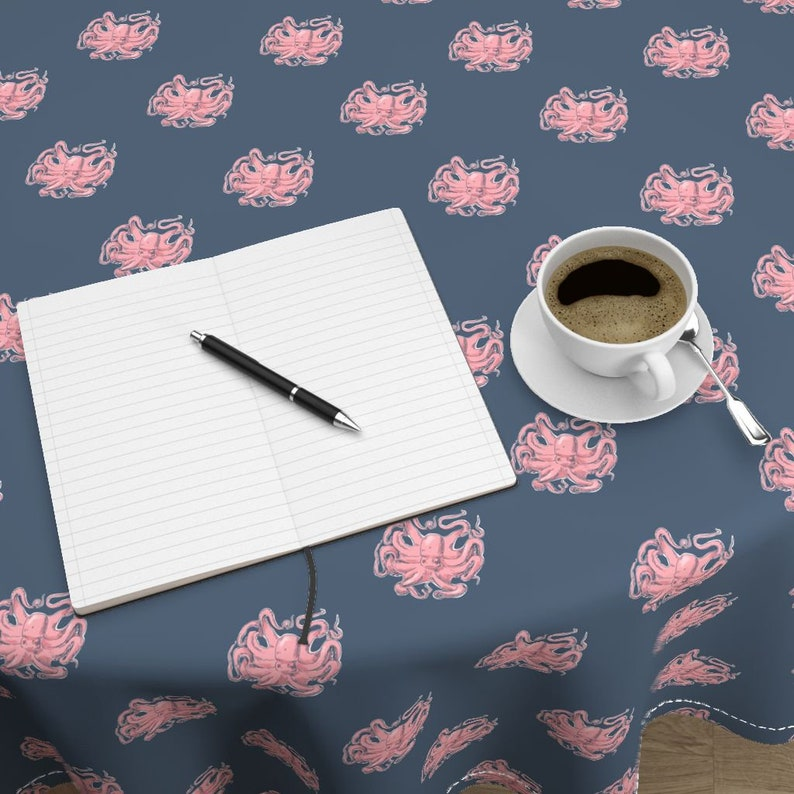 Pink Octopus by vinpauld Nautical Octopus Round Tablecloth Dark Blue Pink Cotton Sateen Circle Tablecloth by Spoonflower