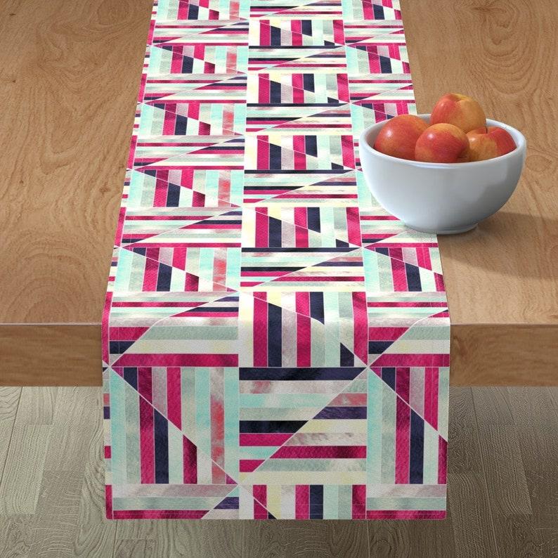 Geometric Table Runner Modern Bauhaus Watercolor Diamonds by tigatiga Stripes  Magenta Pink Cotton Sateen Table Runner by Spoonflower