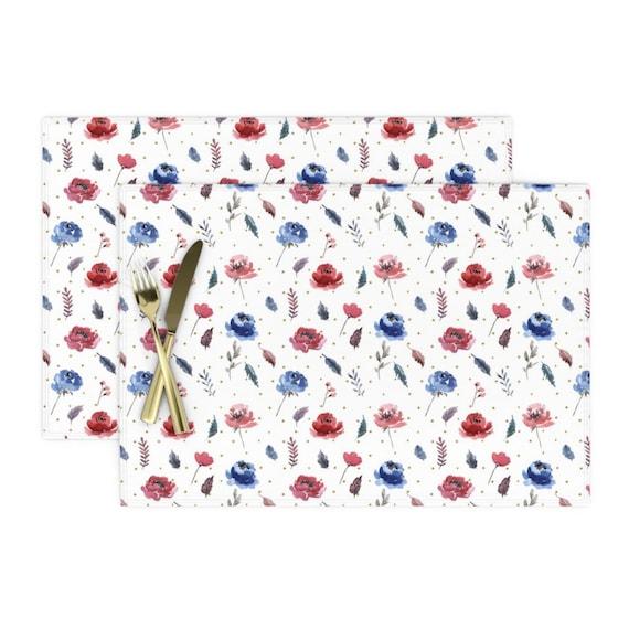 American Glory Flowers by hipkiddesigns Patriotic Floral  America Cotton Sateen Table Runner by Spoonflower 4th Of July Table Runner