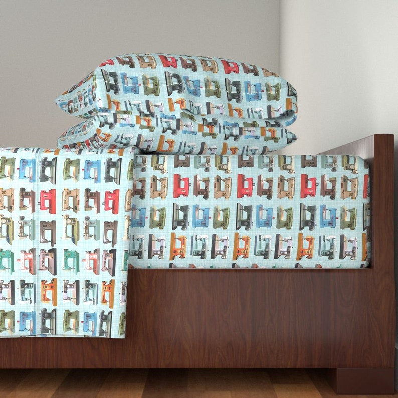 Sewing Machines by Vintage Machines Sheets Retro Sewing Cotton Sateen Sheet Set Bedding by Spoonflower