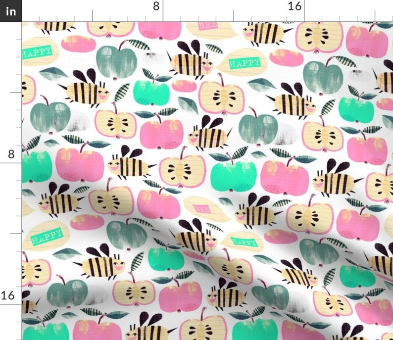 Watercolor Fruits  Happy Apples Cloth Napkins by Spoonflower Set of 2 Pastel Bees Dinner Napkins - Bee Happy by wideeyedtree
