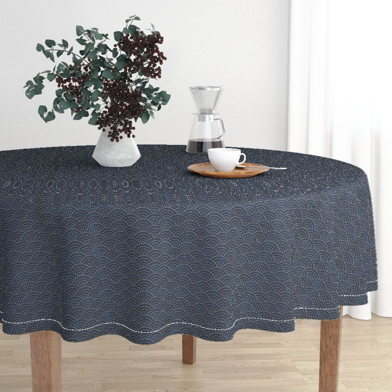 Japanese Round Tablecloth Embroidery Cotton Sateen Circle Tablecloth by Spoonflower Sashiko Seikaiha Ocean Waves by bonnie/_phantasm