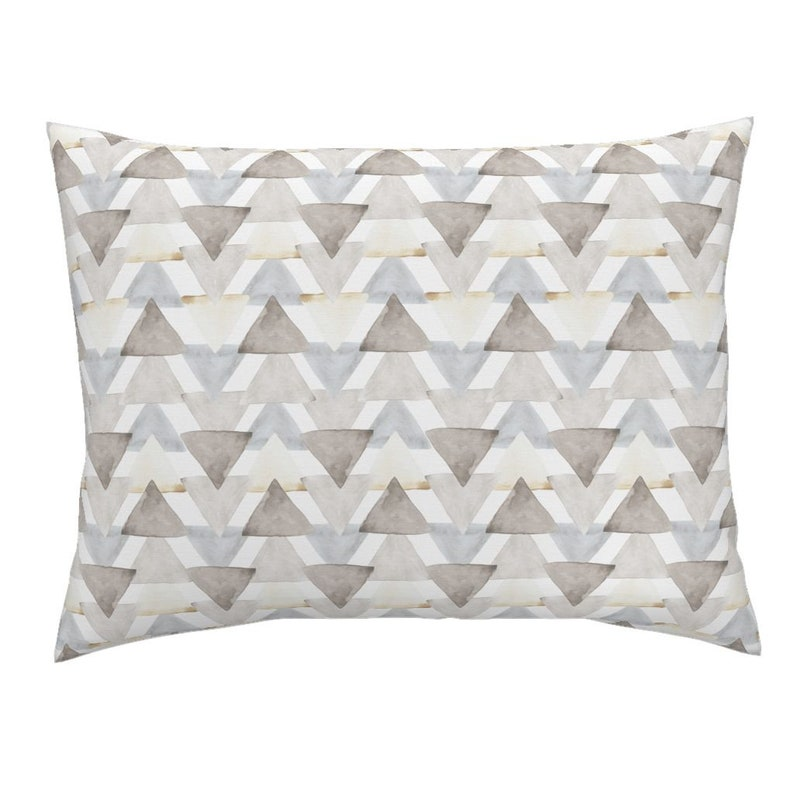 Geometric Cotton Sateen Pillow Sham Bedding by Spoonflower Neutral Watercolor Triangles by Triangles Pillow Sham