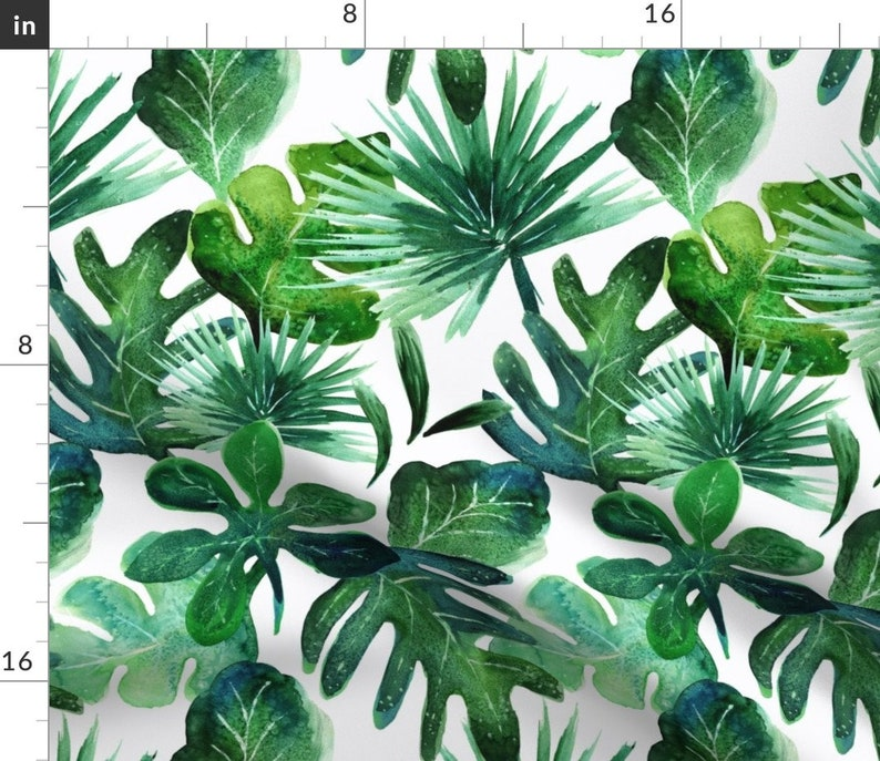 Baby  Palm Jungle Tropical Botanical Cotton Sateen Table Runner by Spoonflower Leaves Table Runner Tropical Leaves by crystal/_walen