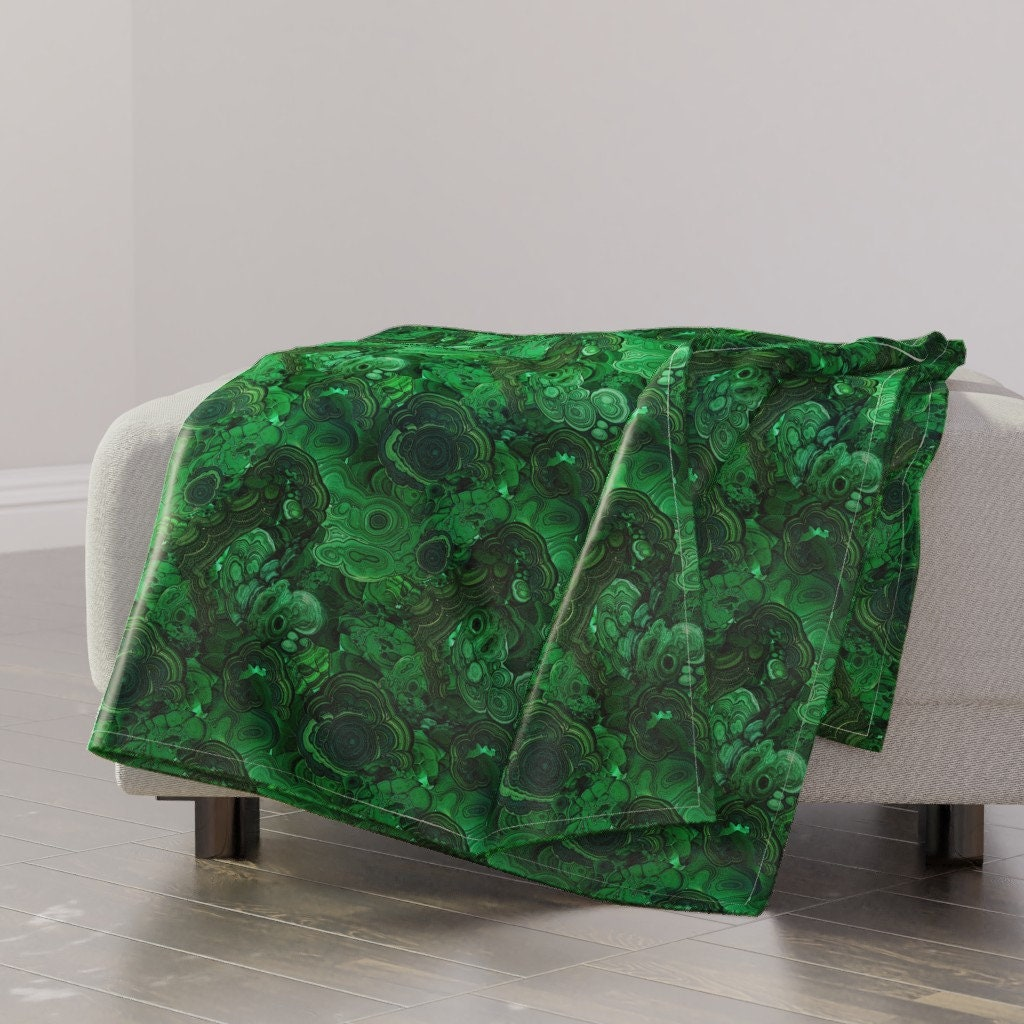 Green Throw Blanket - Malachite par ravynka - Rock Mineral Emerald Marble Malachite Glam Unique Throw Blanket with Spoonflower Fabric