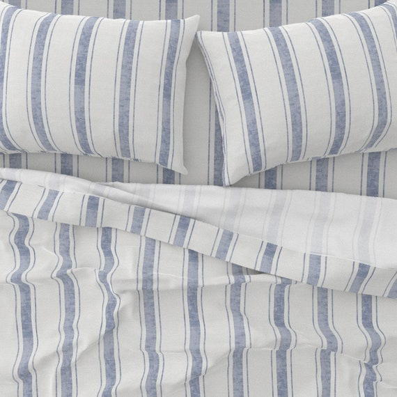French Ticking  Cotton Sateen Tablecloth by Spoonflower Aegean Ticking Stripe by holli/_zollinger Faded Blue Stripes Tablecloth