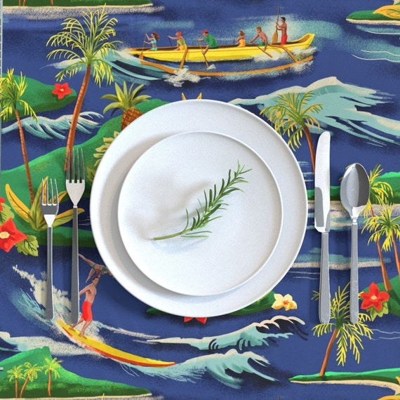 Island Round Tablecloth Hawaiian Vacation by vinpauld Surf  Tropical Surfing Summer  Cotton Sateen Circle Tablecloth by Spoonflower