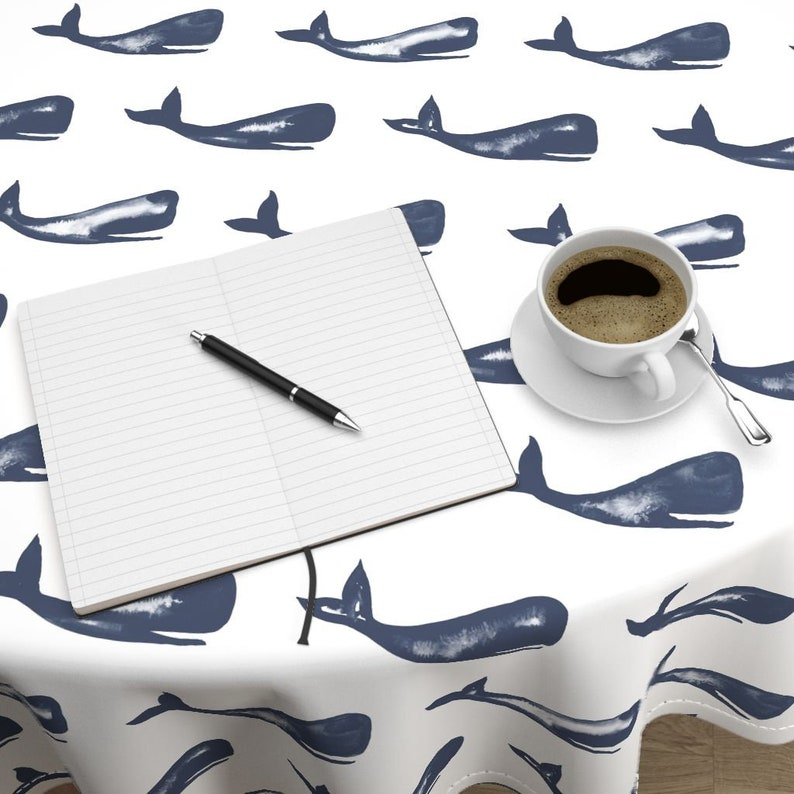 Blue Whale Ocean Luxe Cotton Sateen Round Tablecloth by Roostery with Spoonflower Fabric Moby and Friends by jillbyers Round Tablecloth