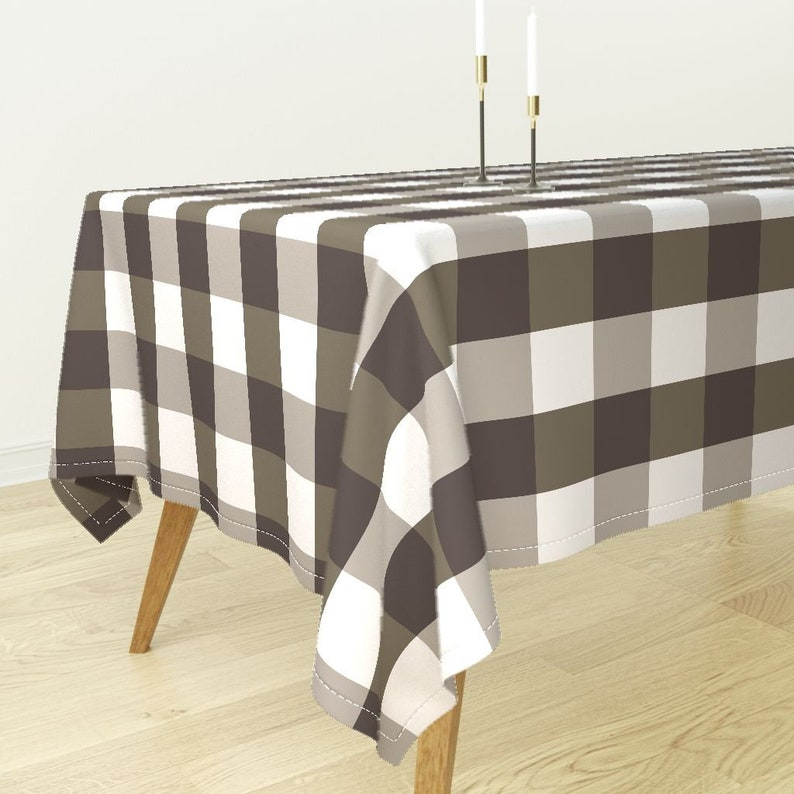Gingham  by peacoquettedesigns Rustic Tablecloth Check Brown Rustic Farmhouse White Cotton Sateen Tablecloth by Spoonflower