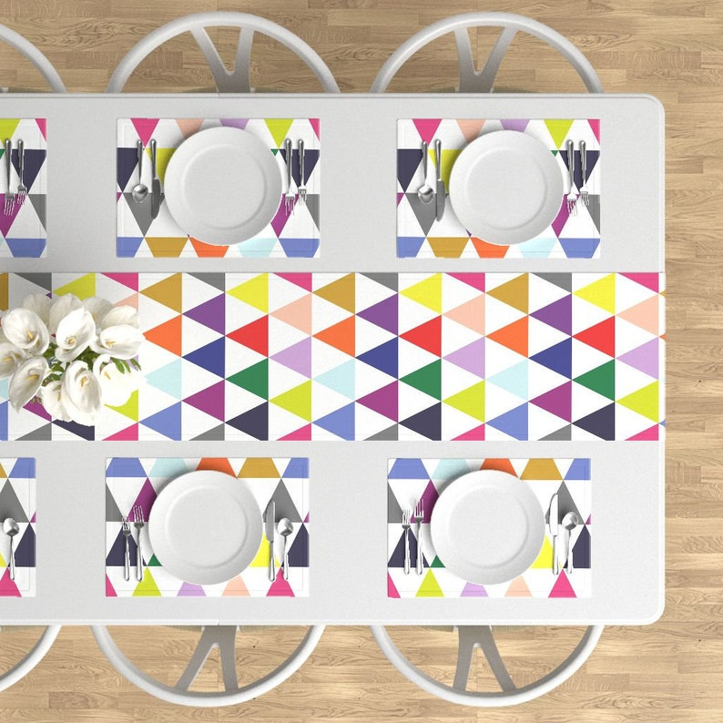 Mod Triangles Cloth Placemats by Spoonflower Set of 4 Geometric Placemats - Rainbow Triangle Cheater Quilt by theartwerks