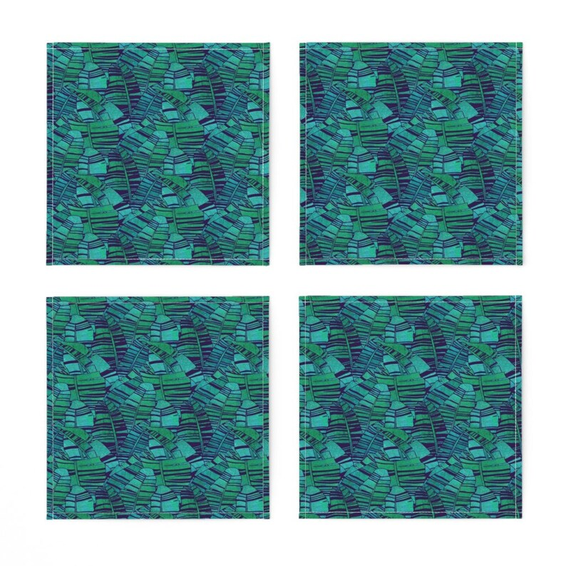 - Tropical Banana Leaves Small by rubydoor Palm Leaves  Jungle Exotic Cloth Napkins by Spoonflower Tropical Cocktail Napkins Set of 4