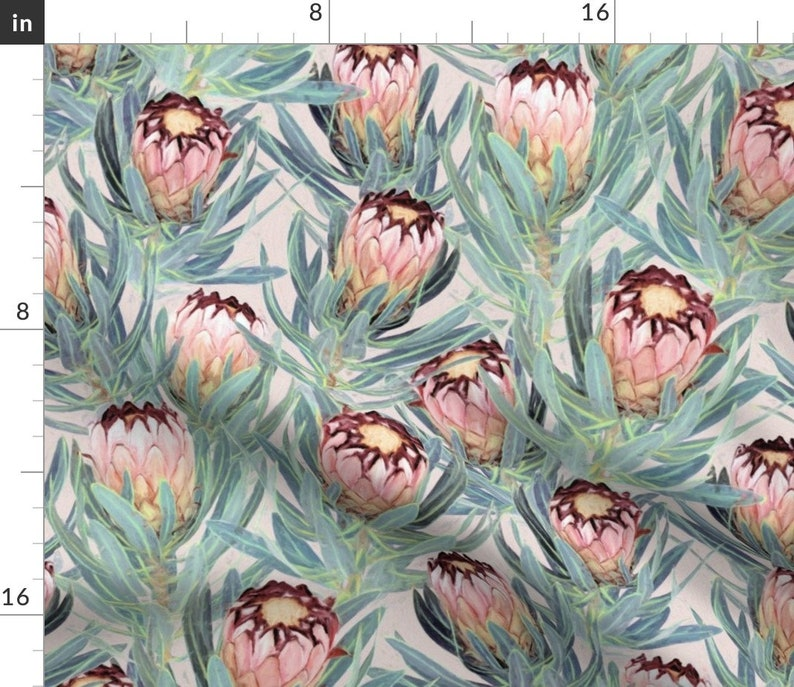 Floral Table Runner Pale Painted Protea Neriifolia Botanical  Nature Spring Cotton Sateen Table Runner by Spoonflower Large by micklyn