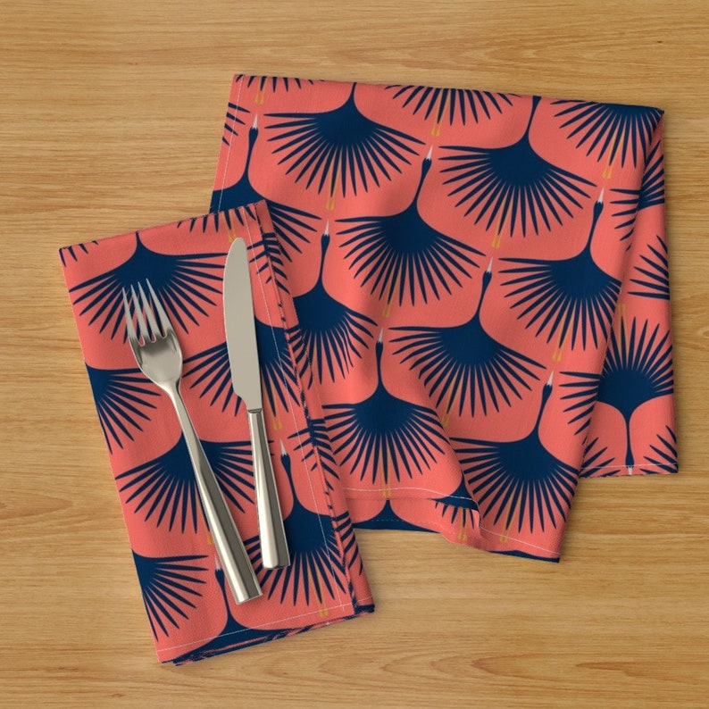Set of 2 Flying Birds  Cranes Art Deco Cloth Napkins by Spoonflower - Swans In The Sunset by katerhees Black Swan Dinner Napkins
