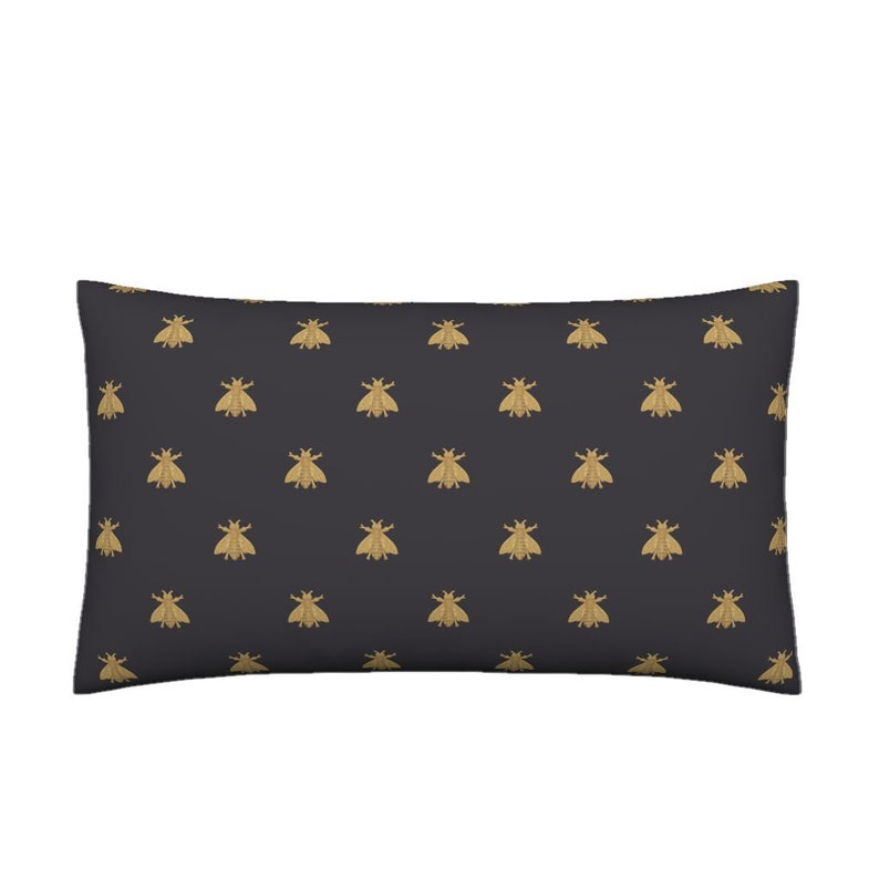 5c9578d41ce Lumbar Throw Pillow Napoleonic Bees Faux Gilt on Black By