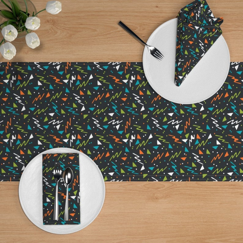 Abstract  Geometric Lines Space Cotton Sateen Table Runner by Spoonflower Retro 90s Table Runner 90s  Space Alien  by andrea/_lauren