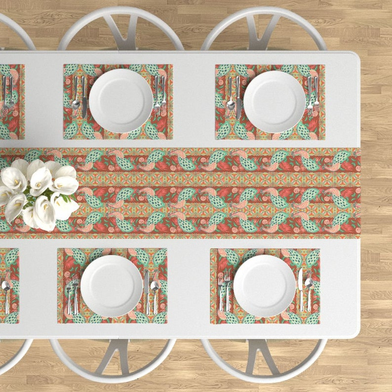 Garden Flower Bird Floral Cloth Placemats by Spoonflower Set of 4 - Madamoiselle Temple Peacock by holli/_zollinger Whimsical Placemats