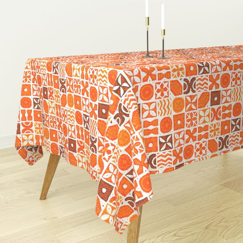 Rectangular Tablecloth UA Tapa  by muhlenkott Tiki Hawaiian Tribal Red Luxe Cotton Sateen Tablecloth Spoonflower Fabric with Roostery