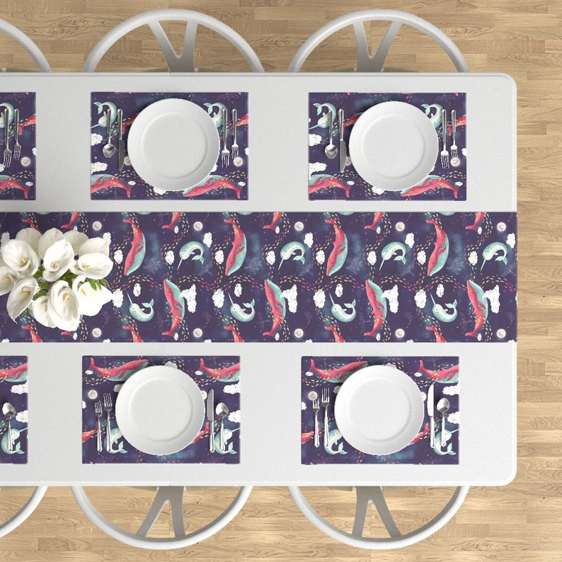 Set of 4 - Dream Whale  by littleknids Nautical Ocean Space Stars Cloth Placemats by Spoonflower Constellations Placemats
