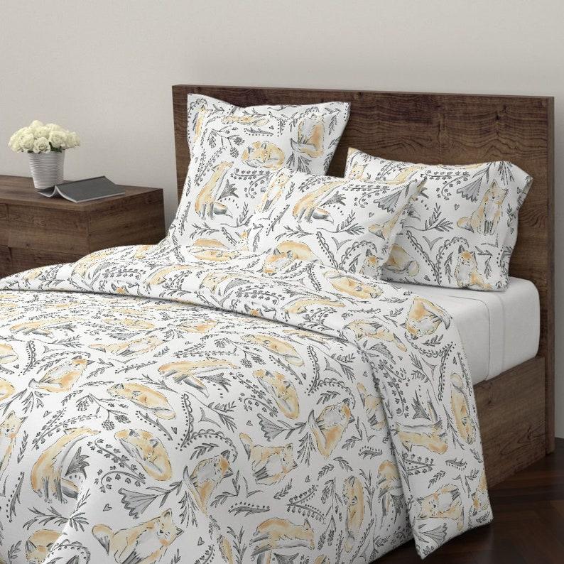Ellifox Bright by rileysheehey Woodland Pillow Sham Watercolor Fox Cotton Sateen Pillow Sham Bedding by Spoonflower