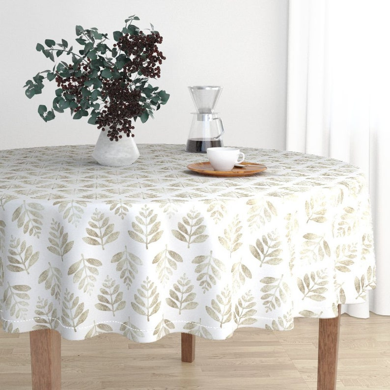 Leaf Block Leaf Print Malay Cotton Sateen Round Tablecloth by Roostery Spoonflower Fabric Lau - Silver By Nick/_Neuman Round Tablecloth