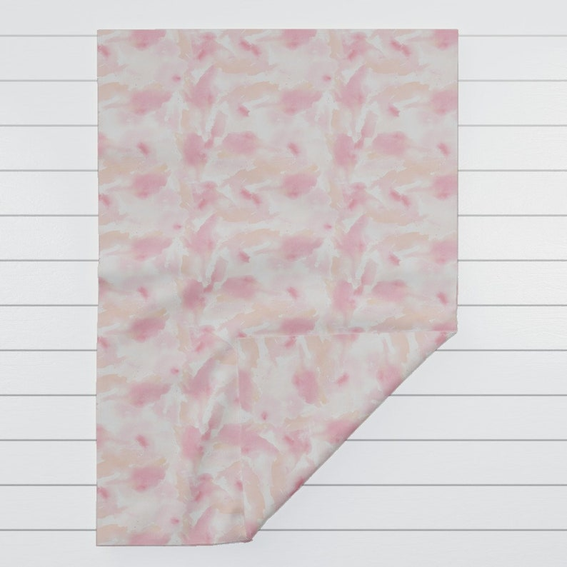 Watercolor Painterly Pink Orange Throw Blanket with Spoonflower Fabric Texas Modern Sunset Pastel by jacinda Abstract Throw Blanket