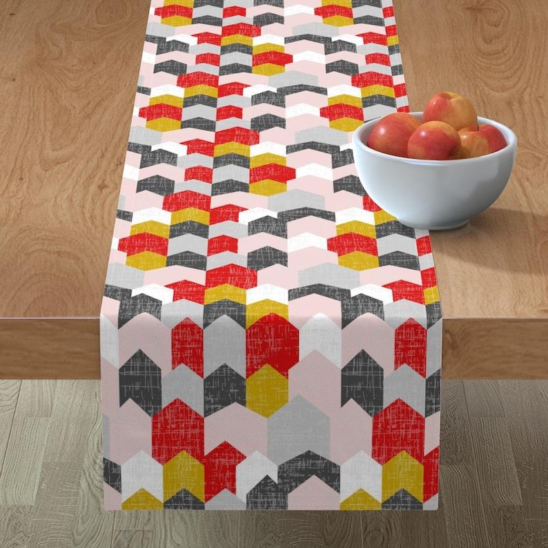 Houses Table Runner City  Village Geometric Chevron Pink  Cotton Sateen Table Runner by Spoonflower Bauhaus Haus by mrshervi