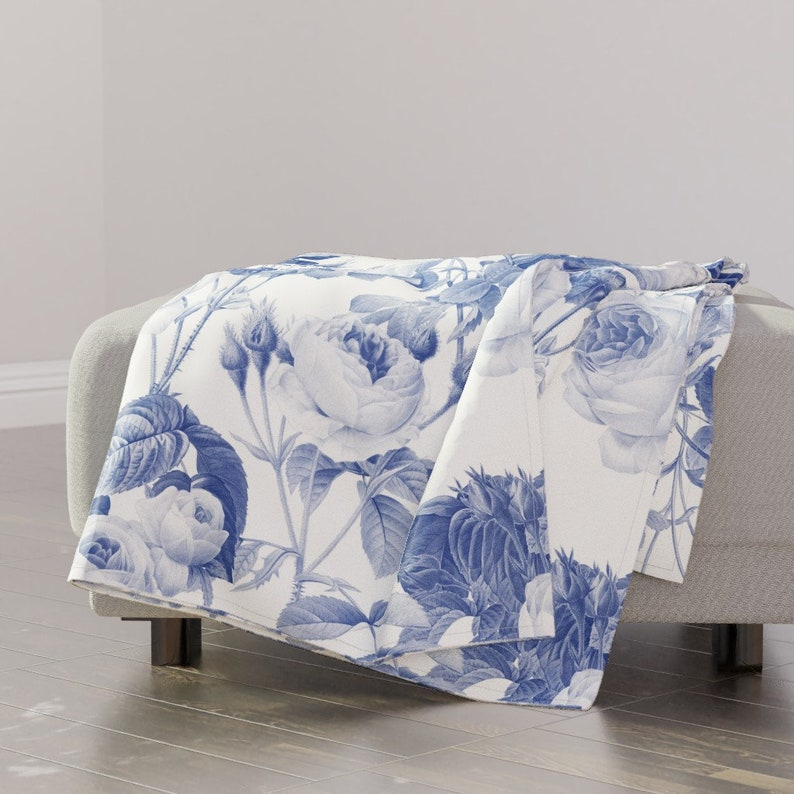 Blue Floral Throw Blanket Shabby Chic Throw Blanket with Spoonflower Fabric Belles Fleurs Jolie Rayure by peacoquettedesigns