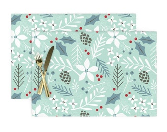 Winter Placemats (Set of 2) - Evergreen Minty Blue Floral by shindigdesignstudio - Woodland  Christmas Decor Cloth Placemats by Spoonflower