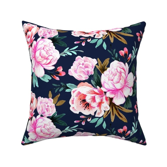 Mod Floral Navy White Flowers Throw Pillow Cover w Optional Insert by Roostery