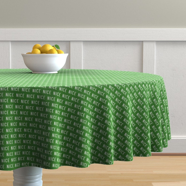 Green by littlearrowdesign Nice Christmas Round Tablecloth Santa/'s List  Holiday Cotton Sateen Circle Tablecloth by Spoonflower