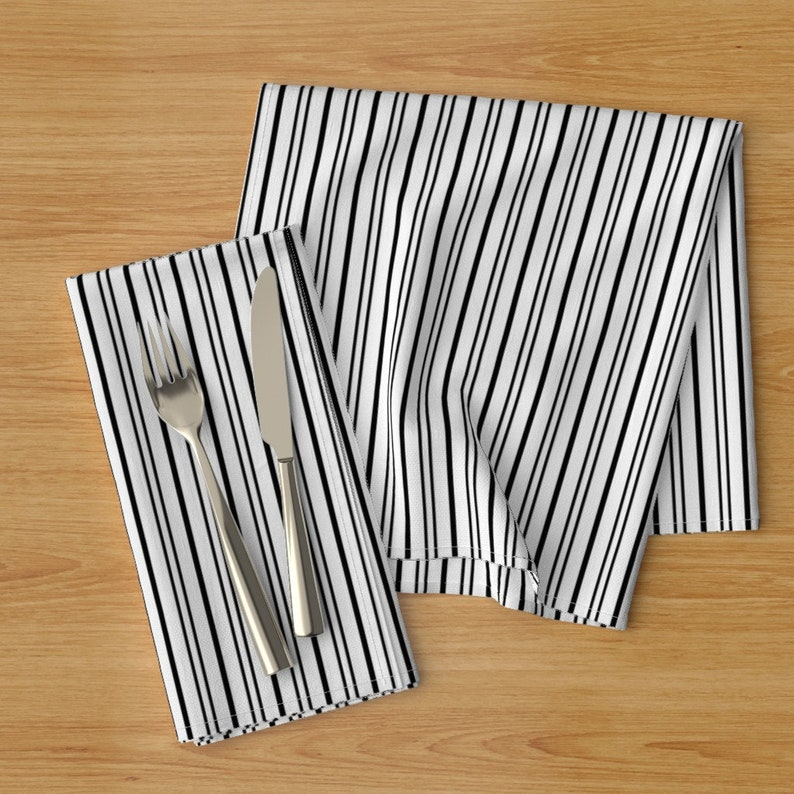 Set of 2 - French Ticking Black And White by peacoquettedesigns Black  Pinstripe Cloth Napkins by Spoonflower Striped Dinner Napkins
