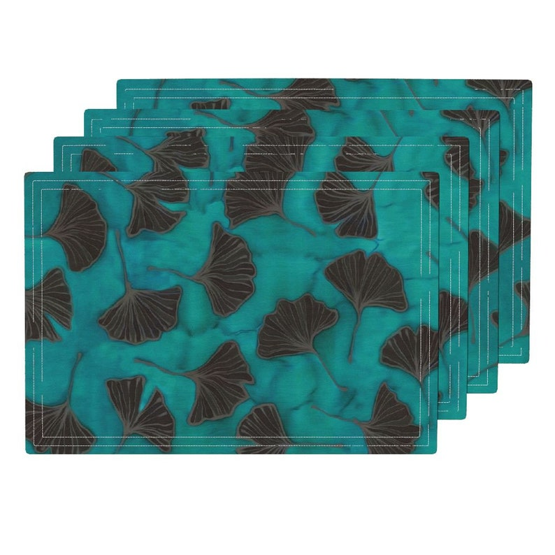 - Ginkgos On Teal Green by lauriekentdesigns Botanical Placemats Set of 4 Batik Teal Watercolor Sfaut15 Cloth Placemats by Spoonflower