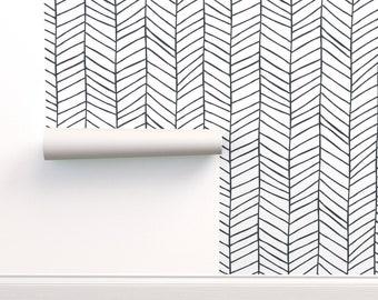Boho Herringbone Wallpaper - Herringbone by jillcookdesigns - Black And White  Monochromatic Chevron  Wallpaper Double Roll by Spoonflower