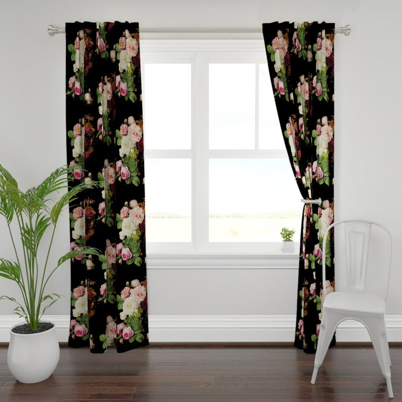 Vintage Garden Custom Curtain Panel by Spoonflower Dark Floral Roses On Black Jumbo by Gothic Floral Curtain Panel